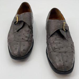 Avventura Men's Grey Genuine Ostrich Buckle Shoe